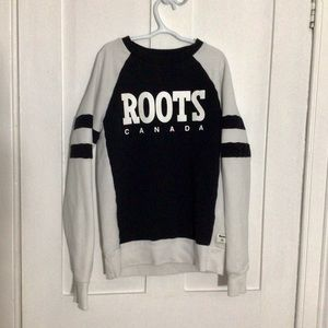 Black and White Crewneck Sweater - Roots